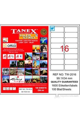 Tanex TW-2016 99,1x34 mm Laser Etiket 100 Ad.
