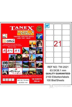 Tanex TW-2021 63,5x38,1 mm Laser Etiket 100 Ad.