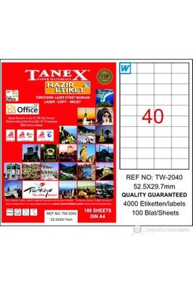 Tanex TW-2040 52,5x29,7 mm Laser Etiket 100 Ad.