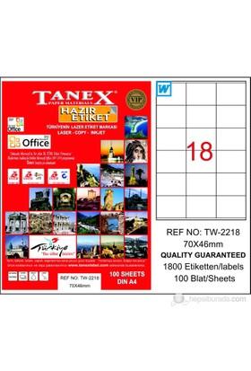 Tanex TW-2218 70x46 mm Laser Etiket 100 Ad.