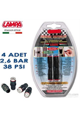 Lampa 2,6 Bar (38 Psi) Lastik Basınç Göstergeli Sibop Kapağı 4 Adet 02486