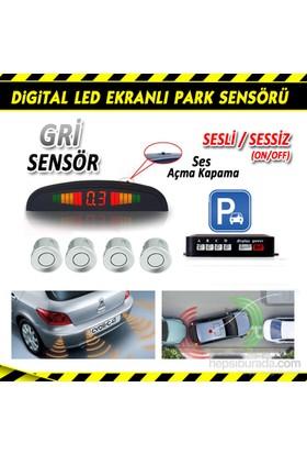 AutoCet GRİ Ultra Led Ekranlı Sesli Park Sensörü 3466a