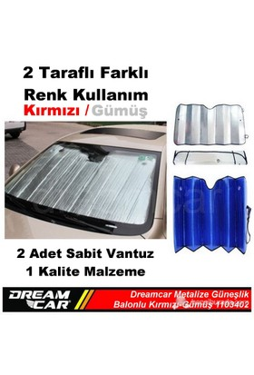 Dreamcar Kırmızı-Gümüş 1. Kalite Metalize Güneşlik Balonlu 60X130 Cm 1103402