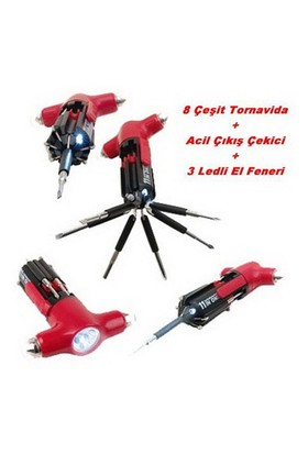 Cannon Acil Çıkış Çekici + 8 Tornavida + 3 ledli El Feneri 80018
