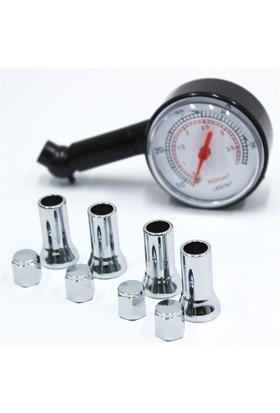 Modacar Hava Ölçme Saati + Nikelajlı Sibop Kapağı Set 424574