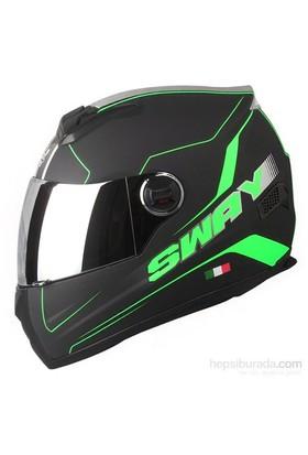 Sway 806 Full Face ECER Sertifikalı Mat Siyah Neon Yeşil Kask