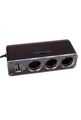 Car Speed USB Çıkışlı 3 lü Çakmak Çoklayıcı Soket 1000165