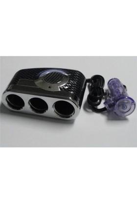 Dreamcar Çakmak Çoklaştırıcı Soket Krom/Karbon 3'lü 3342002