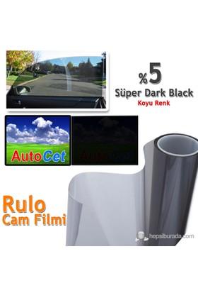 Autocet 75 cm 20 MT Renkli Rulo Cam Filmi Koyu Siyah % 5 Super Dark Black (MADE IN KOREA)