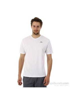 Kappa 1 302Y48 001S Erkek Boyuna Çizgili Poly T-Shirt Beyaz