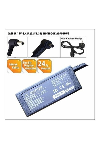 Casper 19V-3.42A (3.5*1.35) Ad153 Notebook Adaptörü