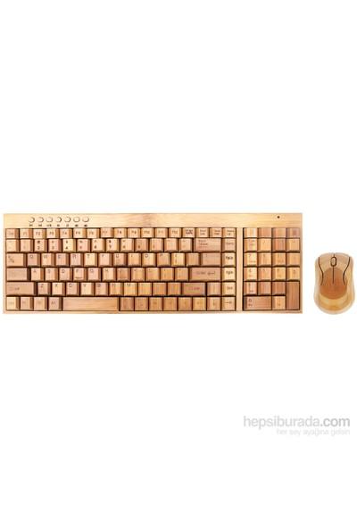 Goldmaster BKM-975 Bamboo Kablosuz Klavye & Mouse Set