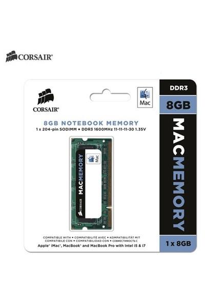 Corsair Mac Memory 8GB 1600MHz DDR3 Sodimm Ram (CMSA8GX3M1A1600C11)