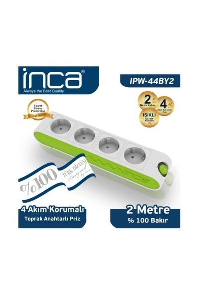 Inca 4'lü Akım Korumalı 2M Işıklı Beyaz Yeşil Priz (IPW-44BY2)