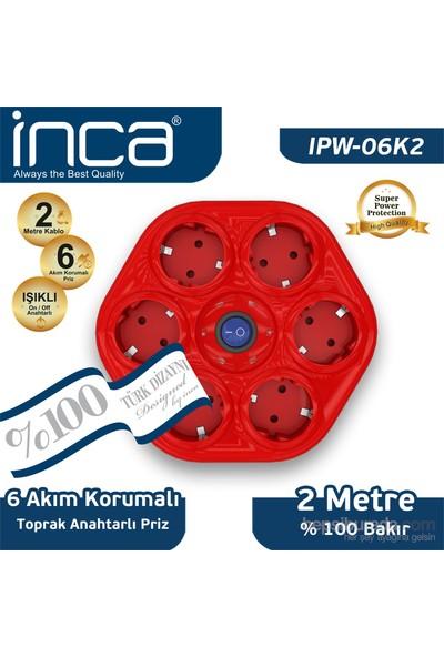 Inca 6'lı Oval Akım Korumalı Işıklı 2M Kırmızı Priz (IPW-06K2)