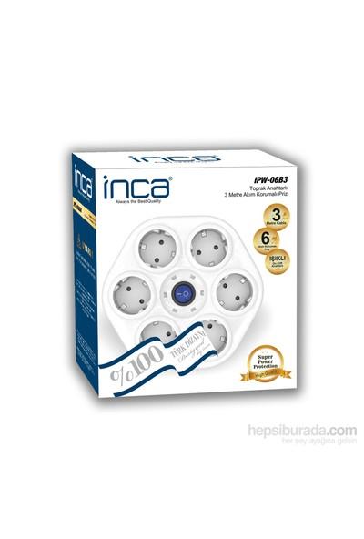 Inca 6'lı Oval Akım Korumalı Işıklı 3M Beyaz Priz (IPW-06B3)