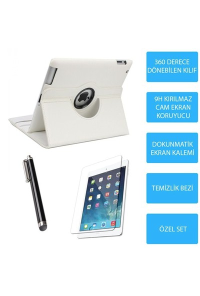 Mobile World iPad Air 2 Beyaz Kılıflı 3 Parça Aksesuar Seti