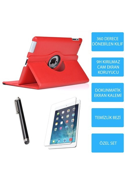 Mobile World iPad Air 2 Kırmızı Kılıflı 3 Parça Aksesuar Seti