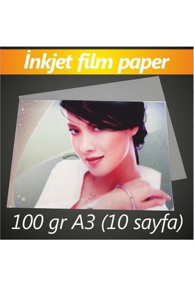 Bitmeyen Kartuş İnkjet Transparan Film Paper 100Gr A3 20 Sayfa
