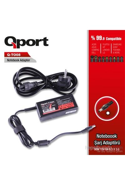 Qport QS-TO08 Toshiba-90W 15V 6A 6.3*3.0 Toshiba Notebook Standart Adaptor
