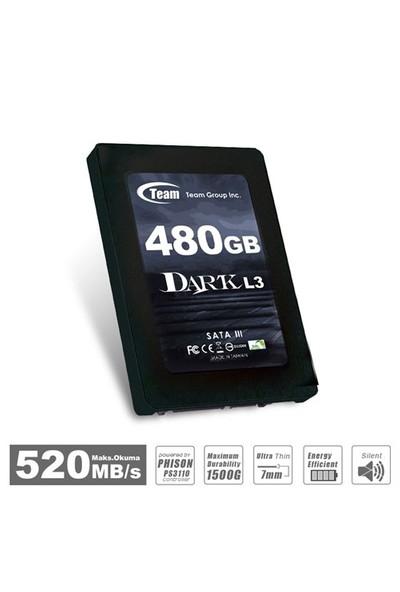 """Team L3 2.5"""" 480GB SATA3 7mm UltraBook Uyumlu 520 - 460MB/sn SSD (TMSSDL3DARK480G)"""