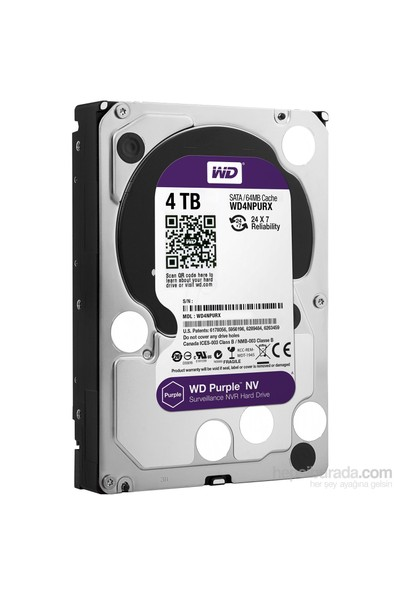 "WD Purple NV 4TB Intellipower Sata 3.0 64MB 3.5"" Güvenlik Diski 7x24 WD4NPURX"