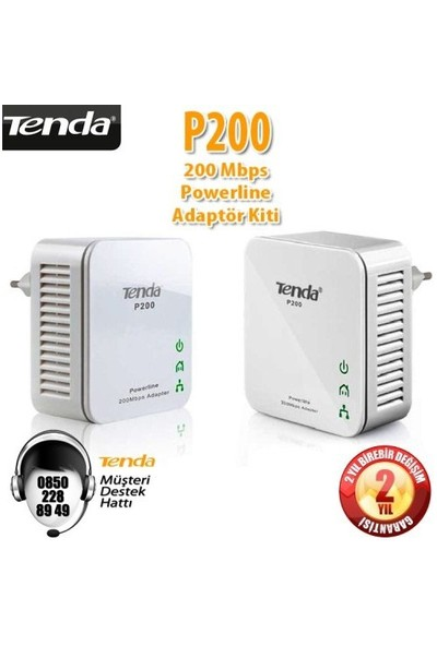 Tenda P200 HomePlug 1Port Kablolu 200Mbps Powerline Adaptör Kit