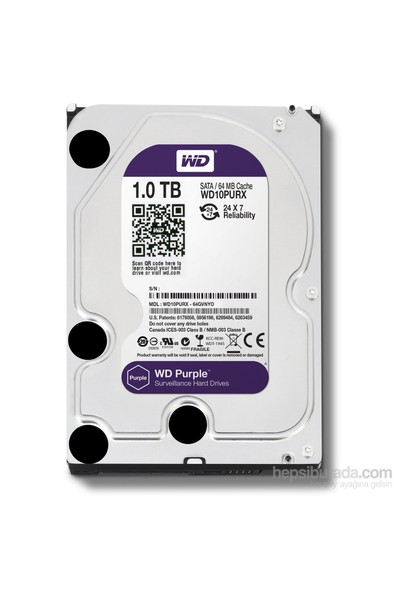 "WD Purple 1TB Intellipower Sata 3.0 64Mb 3,5"" Güvenlik Diski 7x24 (WD10PURX)"