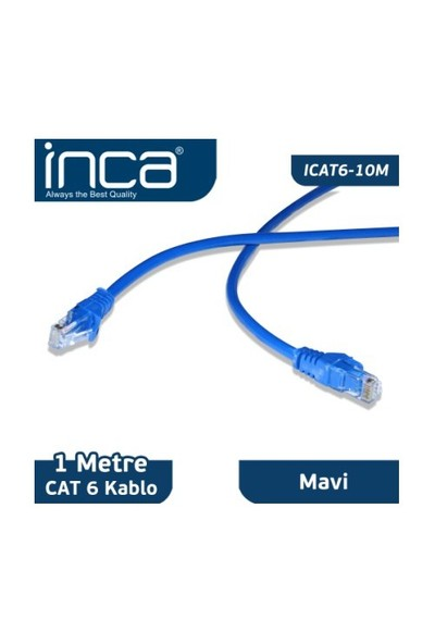 Inca CAT6 1 Metre Mavi Patch Kablo
