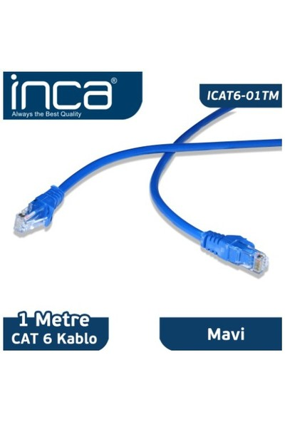 Inca ICAT6-01TM CAT6 1M Mavi