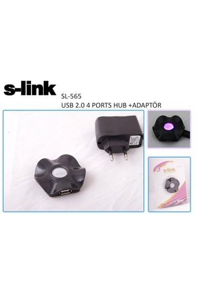 S-Link Sl-565 4 Port Usb 2.0 Adaptörlü Usb Hub