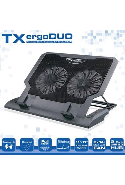 """TX ErgoDUO 9-17"""" 14cm Çift Fanlı, 2xUSB, 5xYükseklik Ayarlı Notebook Soğutucu (TXACNBERGDUO)"""