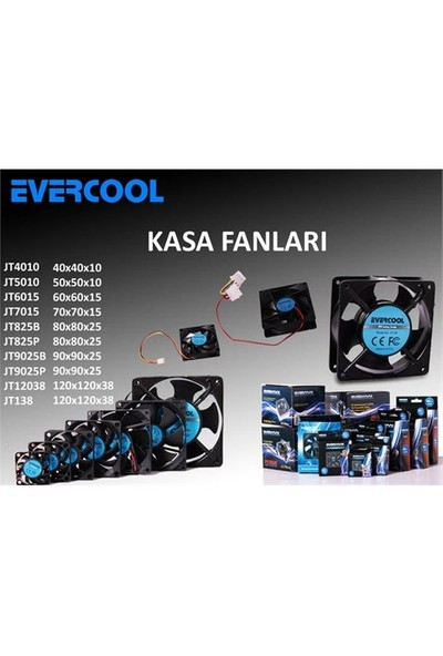 Evercool Jt825b 80*80*25Mm Kutulu Powerdan Beslemeli Kasa Fanı