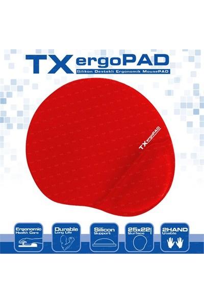 TX ErgoPad Plus Bilek Jel Destekli Kırmızı Mousepad (250x220x5mm)(TXACMPAD01RD)