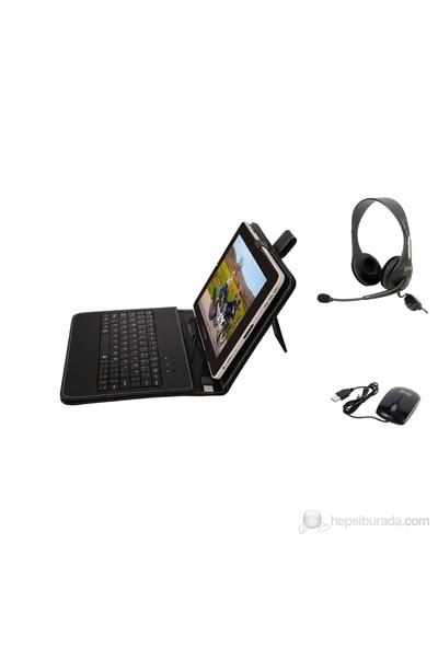 """Mobee 8"""" Ayaklı Siyah Mikro USB Türkçe Klavyeli Tablet Kılıfı Mouse + Kulaklık Hediyeli"""