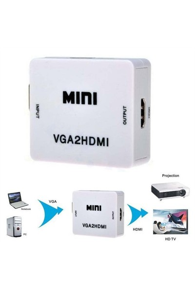 Qpars M600 Vga To Hdmi Çevirici Dönüştürücü Converter Vga'dan Hdmi Çevirici