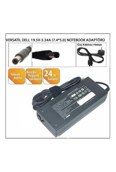 Versatil Dell 19.5V-3.34A (7.4*5.0) Notebook Adaptörü
