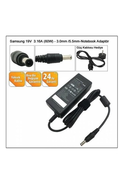Versatil Samsung 19V-3.16A (5.5*3.0) Notebook Adaptörü