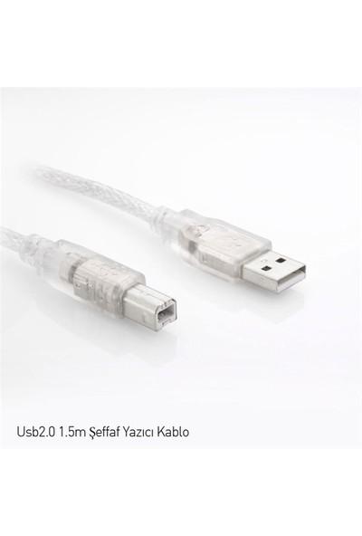 S-link SL-U2015 Usb2.0 1.5m Şeffaf Yazıcı Kablosu