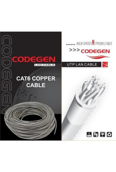 Codegen CAT6 UTP Saf Bakır 23AWG 305 Metre Gri Network Kablosu COD603