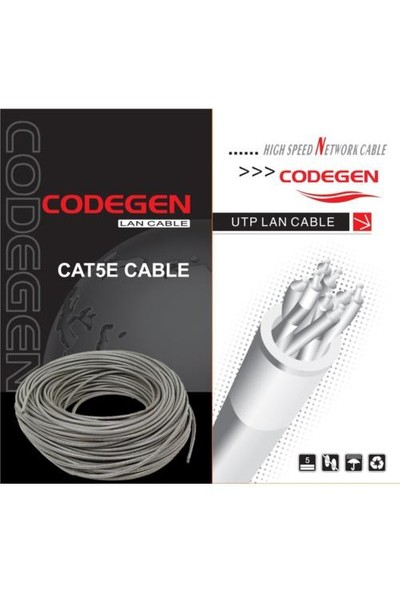 Codegen CAT5E UTP 24AWG 305 Metre Gri Network Kablosu COD501