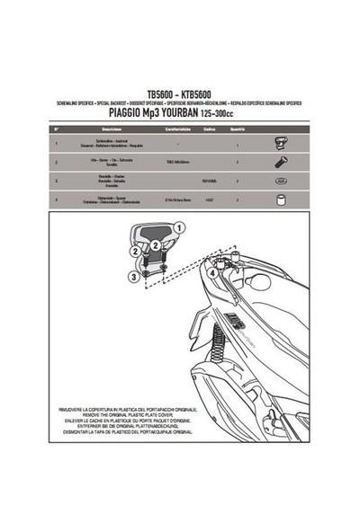 Gıvı Tb5600 Pıaggıo Mp3 Yourban 125-300 (11-15) Sıssybar