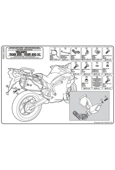 Gıvı Plr6401 Trıumph Tıger 800 - Tıger 800 Xc - Tıger 800 Xr (11-15) Yan Çanta Tasıyıcı