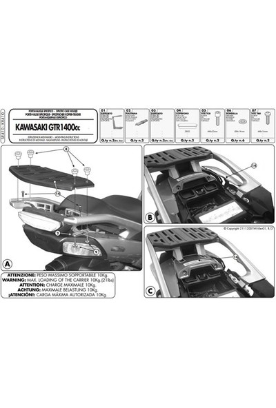 Gıvı Sr410 Kawasakı Gtr 1400 (07-15) Arka Çanta Tasıyıcı
