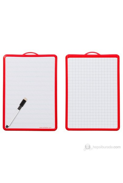 Ark Yazı Tahtası Klavuz Çizgili&Kareli Kırmızı (185x260 mm) + Kalem Set