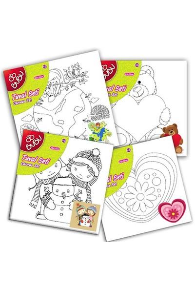 Bu-Bu 20X20 Desenli Tuval(Boyasız) (Kardanadam,Kalp,Doğa,Özel Gün Kutlama) Bubu-Tu0002
