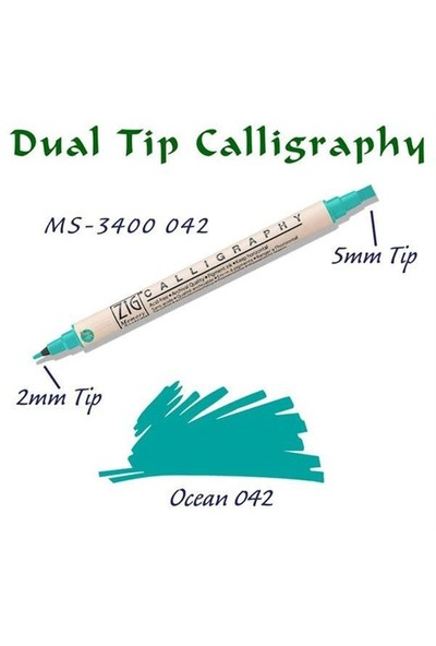 Zig Calligraphy Pen Çift Uçlu Kaligrafi Kalemi 2 Mm - 5 Mm Ocean