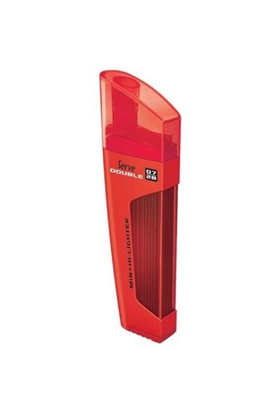 Serve Double 0.7mm Kırmızı - Min & Fosforlu Kalem