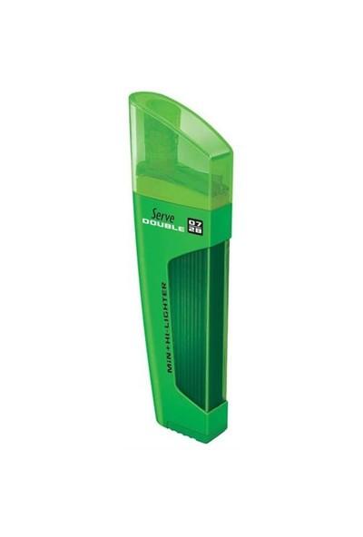 Serve Double 0.7mm Yeşil - Min & Fosforlu Kalem