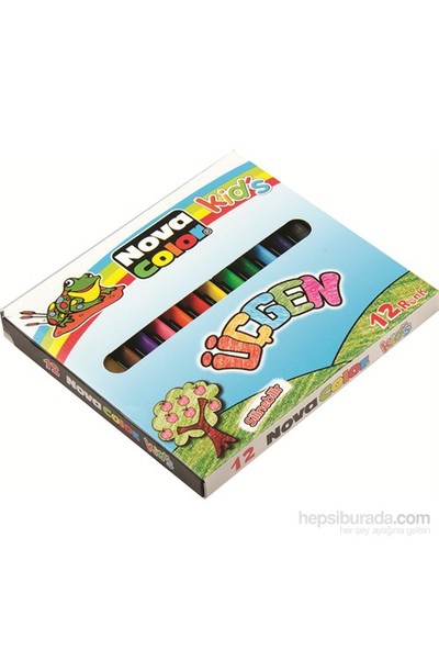 Nova Color Nc-2119 Üçgen Silinebilir 12 Renk Pastel Boya